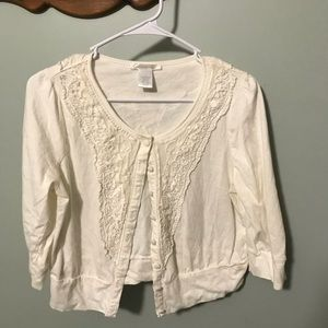 Charlotte Russe crop cardigan with lace detail